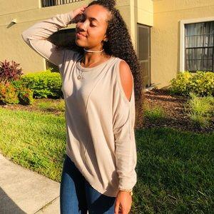 Uniq Sweaters - Almond asymmetrical hem seamed light weight top